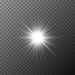 Realistic starburst lighting. Rays glow on transparent background. Glowing light burst explosion. Flare effect decoration with ray sparkles.