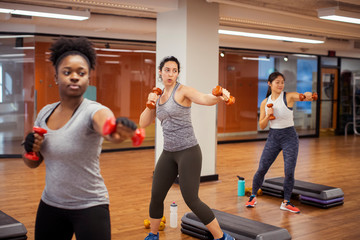 Confident female athletes exercising with dumbbells while standing on hardwood floor in gym