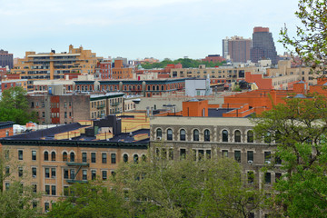 View of South Harlem and Morningside Park from Morningside Drive in Morningside Heights neighborhood of Manhattan, New York City