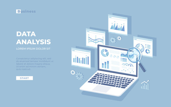 Data analysis, audit, research, analytics, reporting concept. Web and mobile service. Financial reports, charts graphs on a laptop screen, web pages. Isometric 3d vector banner.