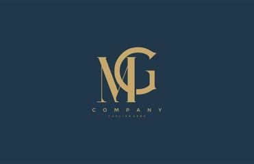 Fototapeta Elegant MG Letter Linked Monogram Logo Design obraz
