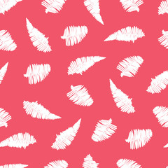 Vector red seamless pattern with fern leaves. Suitable for textile, gift wrap and wallpaper.
