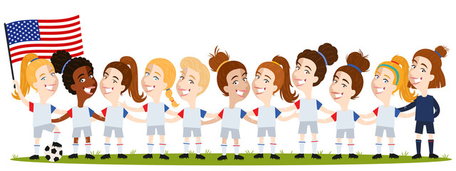 Women's football, US American team lineup cartoon