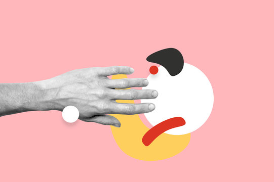 Man hand photo with abstract shapes fantasy illustration. Magazine collage style banner with space for text. Minimalistic trendy colors, flat design. Hands touching circle. Mixed styles, summer vibe