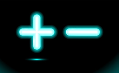 Plus and minus blue glowing neon ui, ux, icon. Matematical symbol. Ad design balance concept pluses or minuses, Luminescent vector art illumination illustration. Signs isolated on black or dark