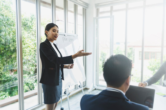 Young attractive businesswoman showing presentation