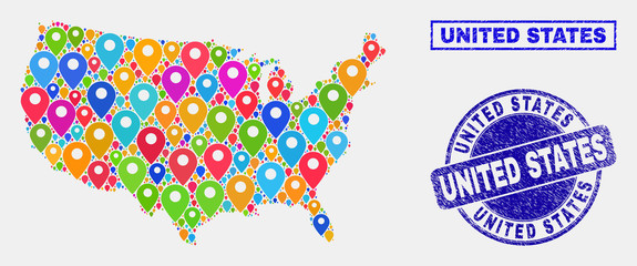 Vector bright mosaic United States map and grunge watermarks. Abstract United States map is designed from scattered bright navigation symbols. Watermarks are blue, with rectangle and round shapes.