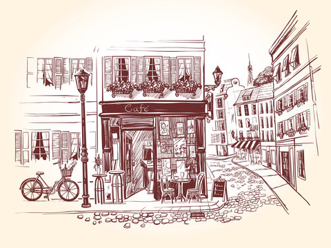 Street cafe on the corner of an old building in a french city. Bicycle with a bottle of wine and a long loaf and billboard menu next to the old cafe. Vector illustration in vintage style.