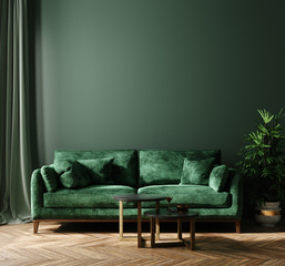 Wall Mural - Home interior mock-up with green sofa, table and decor in living room, 3d render