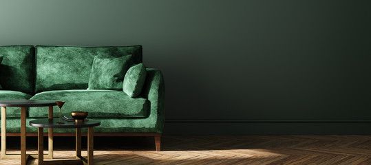 Modern dark green home interior background, wall mock up, 3d render