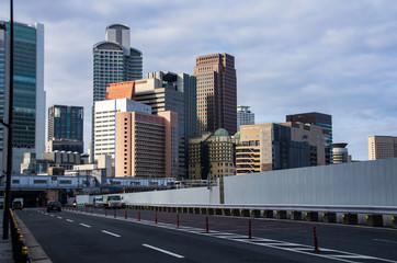 大阪・西梅田のビル群の早朝の風景