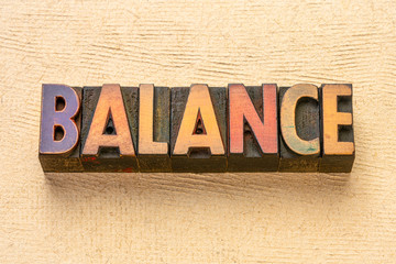 balance word in wood type