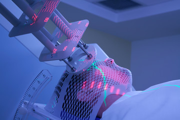Man Receiving Electron Radiation (Radiotherapy) for Cancer Treatment
