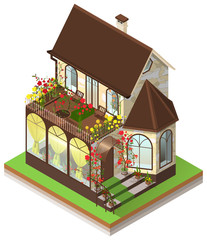 Small private stone house with bay window and roof garden. Isometric 3d isolated on white