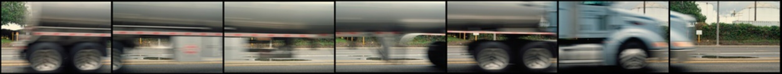 Seven blurred pictures of a truck assembled together as it quickly passes by.