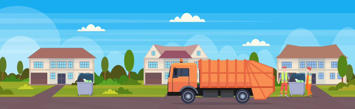orange garbage truck urban sanitary vehicle loading recycling bins waste recycling concept modern cottage house countryside background flat horizontal banner