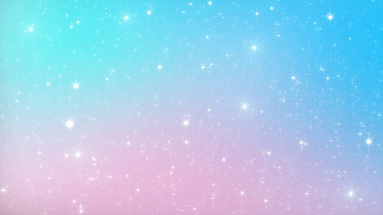 Abstract Pastel Fairy background with rainbow mesh. Kawaii universe banner in princess colors. Fantasy gradient backdrop with magic sparkles, stars and blurs