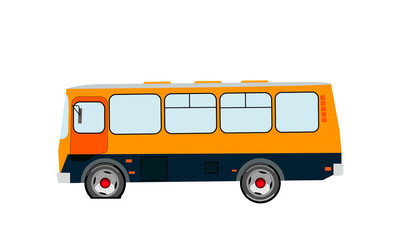 Breakdown. Punched wheel. Bus side view on an isolated background. Vector illustration.