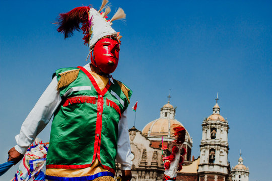 Carnival in Mexico, mexican dancers wearing a traditional mexican folk rich in color