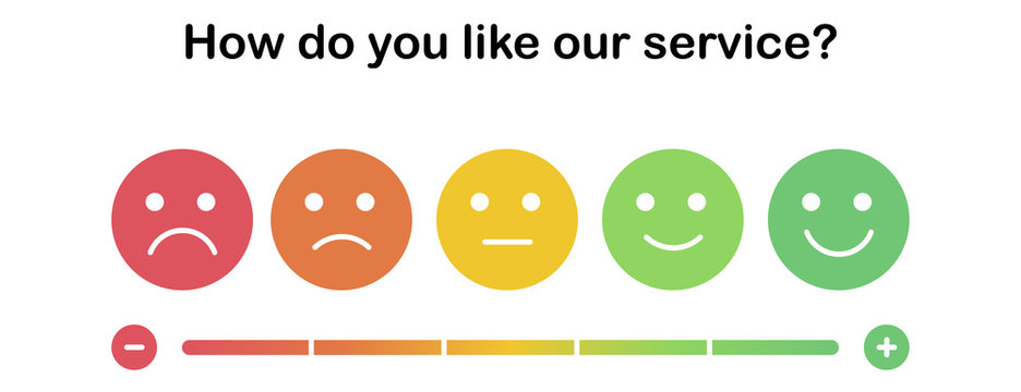 Set of the colorful emoticons with different mood from angry to happy. Smiles with five emotions: dissatisfied, sad, indifferent, glad, satisfied. Element of UI design for estimating client service.