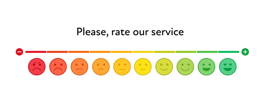 Vector feedback survey template. Ten scale of colorful emotion smiles from angry to happy with color slider on white background. Emoticons element of UI design for client service rating.