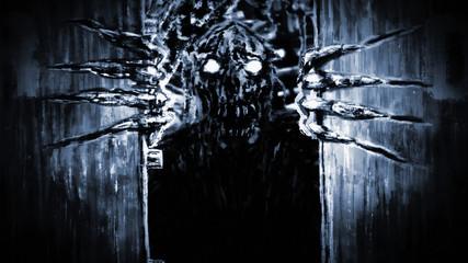 Enraged zombie monster opens bunker doors and growls.