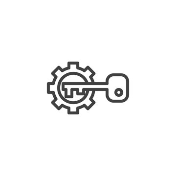 Gear and key line icon. linear style sign for mobile concept and web design. Activation configuration outline vector icon. Symbol, logo illustration. Vector graphics
