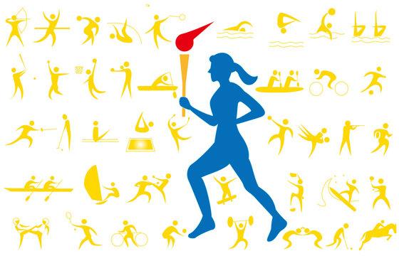スポーツ大会の聖火ランナーと競技種目のアイコンセット。