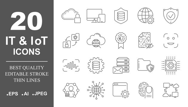 Premium set of network, IT, IoT line icons. Simple pictograms pack. Stroke vector illustration on a white background. Modern outline style icons collection. Editable Stroke. EPS 10