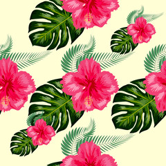 Tropical vintage hibiscus plumeria floral green leaves seamless pattern white background. Exotic wallpaper