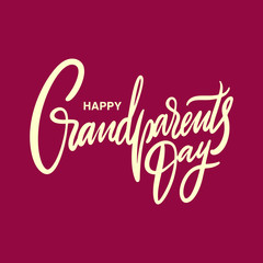 Happy Grandparents day holiday. Hand drawn vector lettering. Isolated on red background.