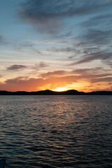 Orange coloured stratocumulus coastal Sunrise Seascape. Australia