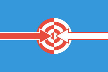 two different arrows and half targets, double impact concept