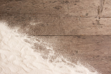 White sand and on planked wood. Summer background with copy space for text. Top view