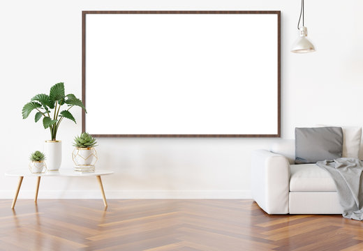 Frame hanging in bright white living room with plants and decorations mockup 3D rendering