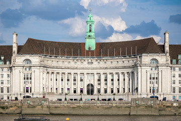 London County Hall seen from the north bank of the River Thames Wall mural