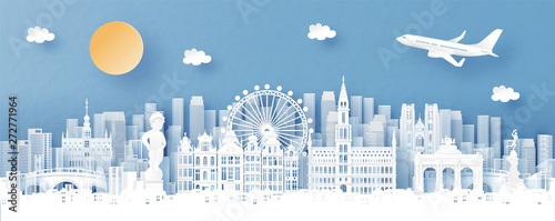 Fototapete Panorama view of Brussels, Belgium and city skyline with world famous landmarks in paper cut style vector illustration