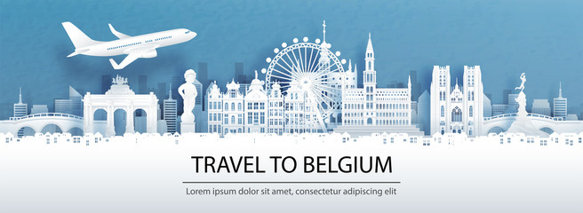 Fototapete - Travel advertising with travel to Belgium concept with panorama view of city skyline and world famous landmarks in paper cut style vector illustration.
