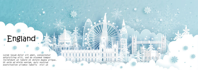 Fototapete - Panorama postcard and travel poster of world famous landmarks of London, England in winter season with falling snow in paper cut style vector illustration