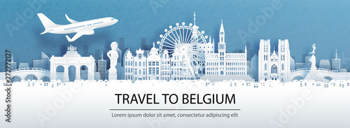 Fototapete Travel advertising with travel to Belgium concept with panorama view of city skyline and world famous landmarks in paper cut style vector illustration.