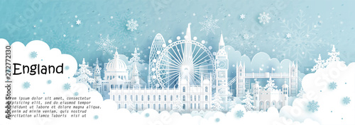 Fototapete Panorama postcard and travel poster of world famous landmarks of London, England in winter season with falling snow in paper cut style vector illustration