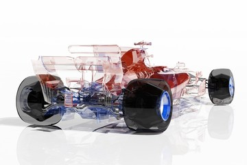 Acrylic Prints F1 Transparent model cars.