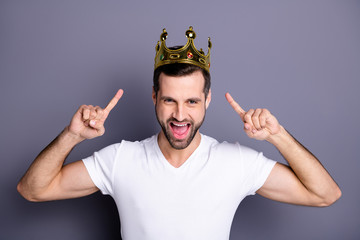 Portrait of funny funky lovely cheerful excited people person have gemstone ego crown feel rejoice attractive enjoy party laughter dressed light-colored outfit isolated grey background Fototapete