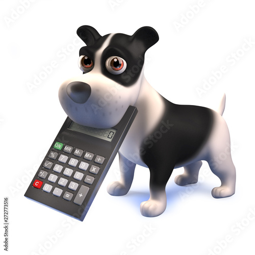 Cartoon 3d funny black and white puppy dog with a digital