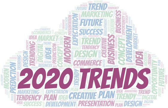 2020 Trends word cloud. Wordcloud made with text only.