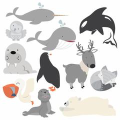 Artic animals  cartoon Christmas set