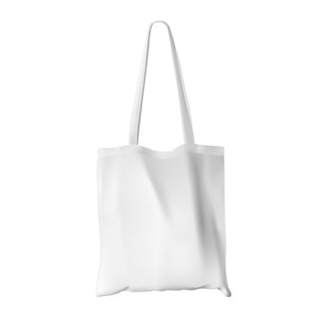 Textile tote bag for shopping mockup. Vector illustration. Can be use for your design. EPS10.
