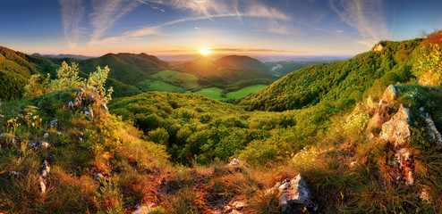 Spring mountain landscape panorama with forest and sun