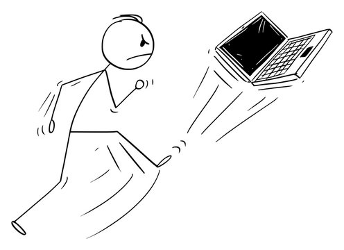 Vector cartoon stick figure drawing conceptual illustration of angry man kicking out the portable computer or laptop or notebook. Broken technology concept.