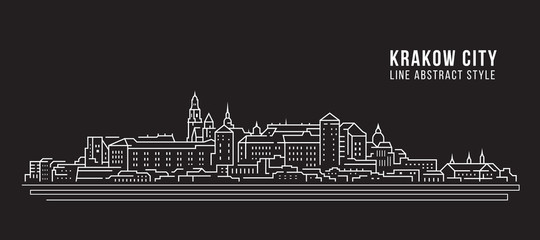 Cityscape Building Line art Vector Illustration design -  Krakow city